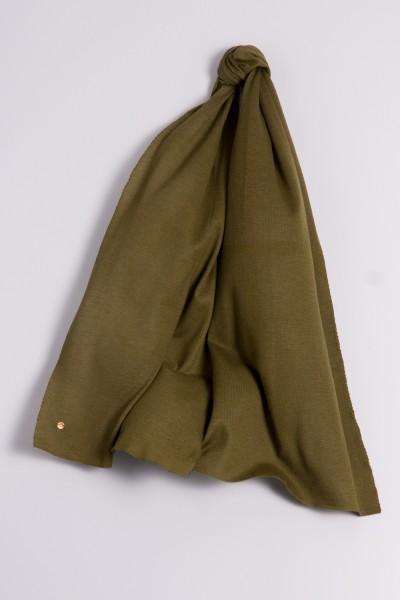 Écharpe cachemire en tricot fin vert olive
