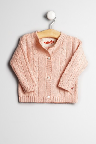 Baby Strickjacke Zopfmuster light pink