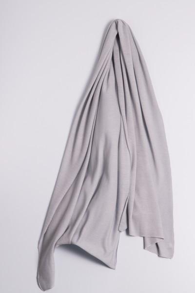 Étole cachemire en tricot fin gris