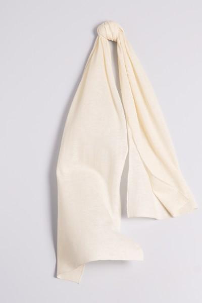 Écharpe cachemire en tricot fin crème