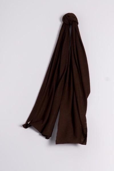 Écharpe cachemire en tricot fin marron