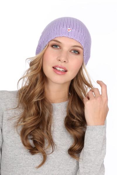 Coarse Knit Cashmere Cap lilac