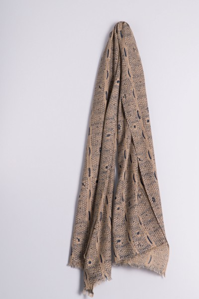 Écharpe côtelée naturel de Francfort moroccan blue