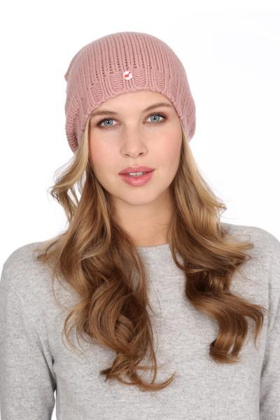 Coarse Knit Cashmere Cap cameo rosé