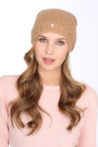 Coarse Knit Cashmere Cap camel