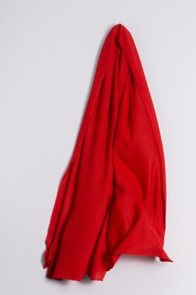 Étole cachemire en tricot fin rouge
