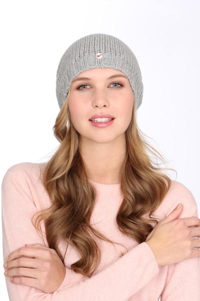 Coarse Knit Cashmere Cap silver grey