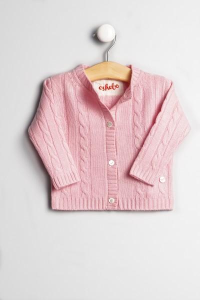 Baby Strickjacke Zopfmuster rosy pink