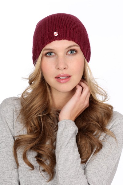 Coarse Knit Cashmere Cap burgundy
