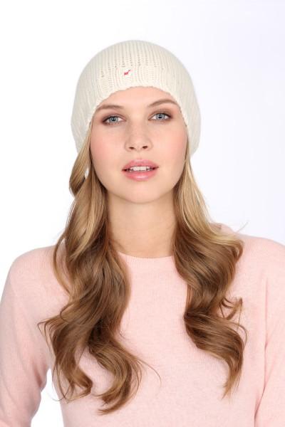 Coarse Knit Cashmere Cap offwhite