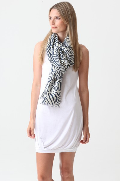 Pashmina Couture Print Zebra dress blues