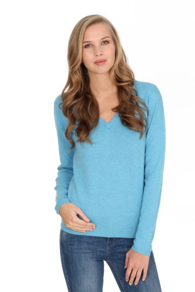 Pull-over en cachemire V-Neck air blue