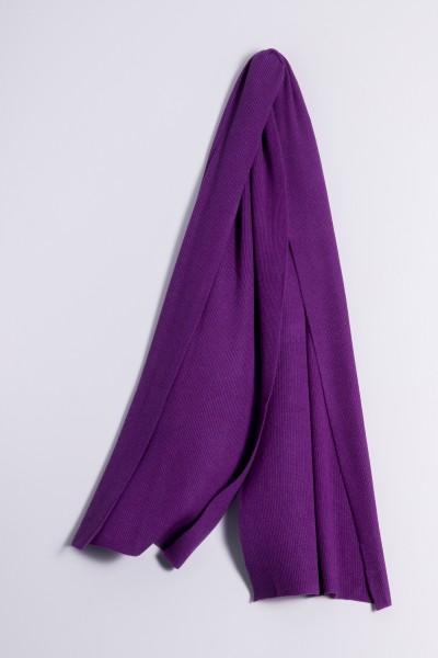 Écharpe cachemire côtelé lila