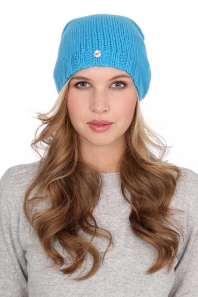 Coarse Knit Cashmere Cap cyan blue