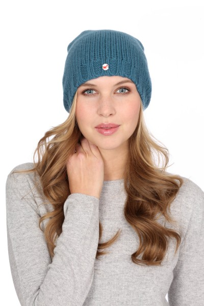 Coarse Knit Cashmere Cap sapphire