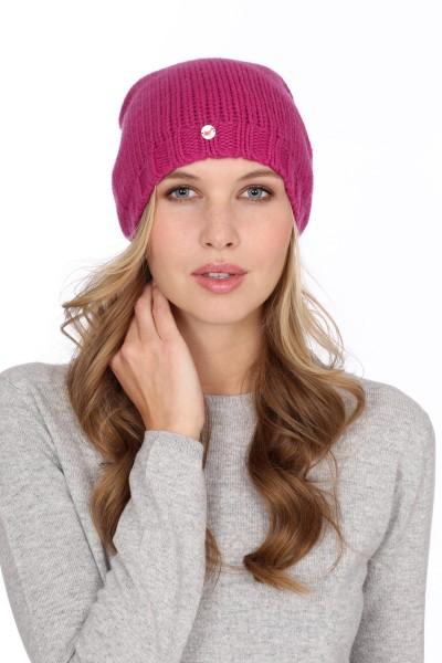 Coarse Knit Cashmere Cap raspberry pink