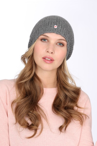 Coarse Knit Cashmere Cap derby grey