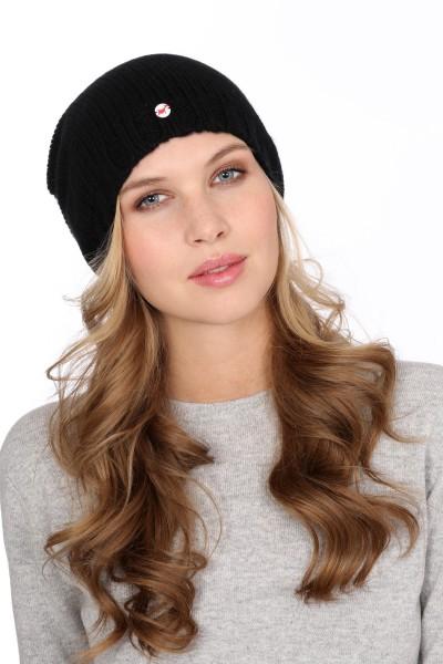 Coarse Knit Cashmere Cap black