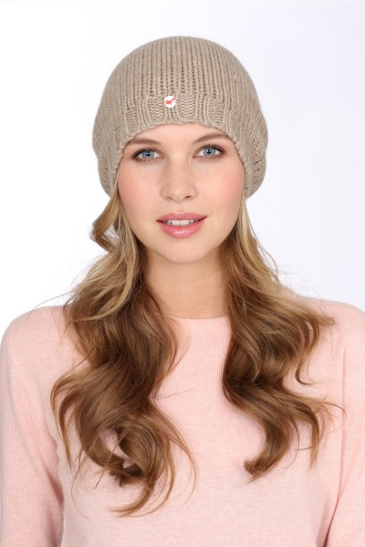 Coarse Knit Cashmere Cap natural grey