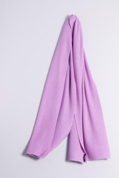 Écharpe cachemire côtelé lilas clair