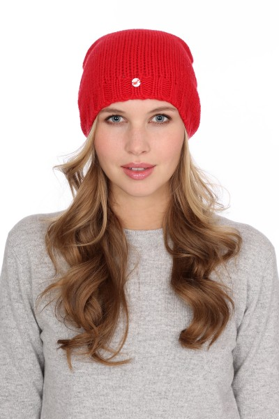 Coarse Knit Cashmere Cap red