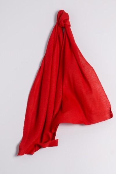 Écharpe cachemire en tricot fin rouge