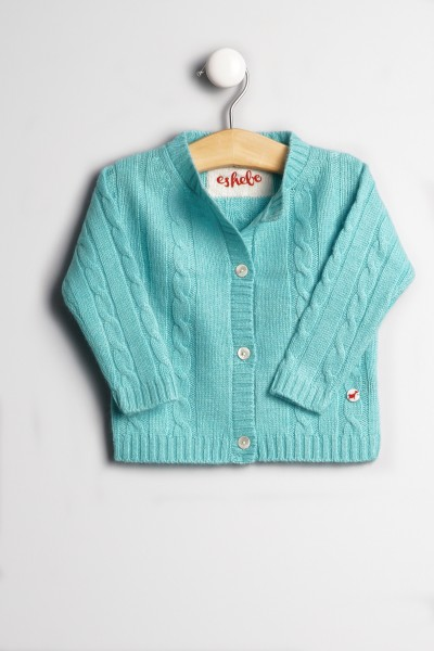 Baby Strickjacke Zopfmuster turquoise