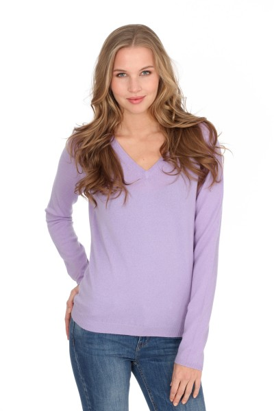 Pull-over en cachemire V-Neck lilas clair