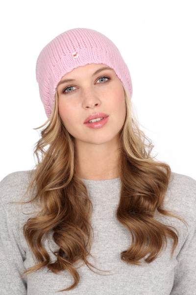 Coarse Knit Cashmere Cap rosy pink
