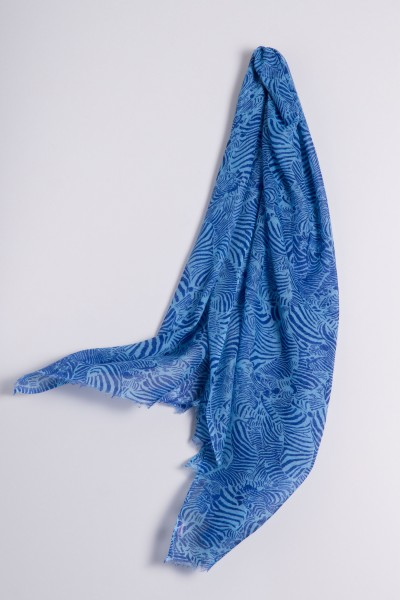 Hot Pashmina Print Zebra alaskan blue
