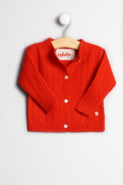 Baby Strickjacke Zopfmuster red