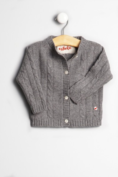 Baby Strickjacke Zopfmuster uniform grey