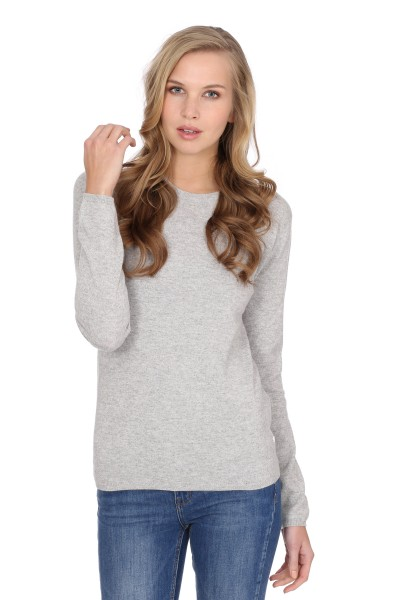 Pull-over en cachemire Round-Neck oyster gris