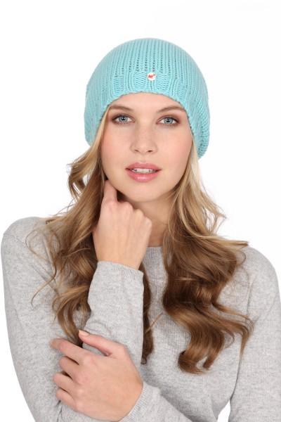 Coarse Knit Cashmere Cap turquoise