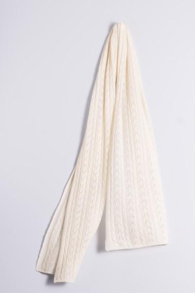Écharpe en tricot torsadé creme