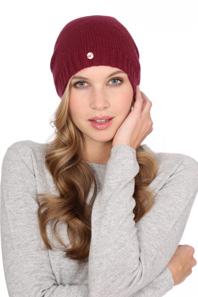 Fine Knit Cashmere Cap burgundy