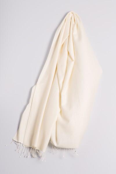 Pashmina 90x200cm blanc laine
