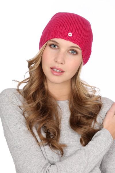 Coarse Knit Cashmere Cap fuchsia pink