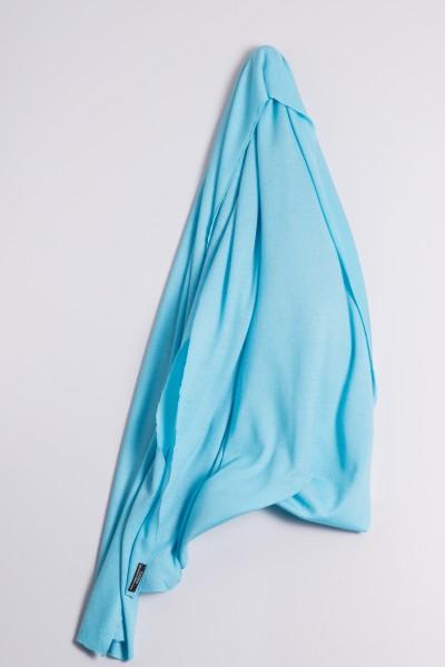 Étole cachemire en tricot fin turquoise