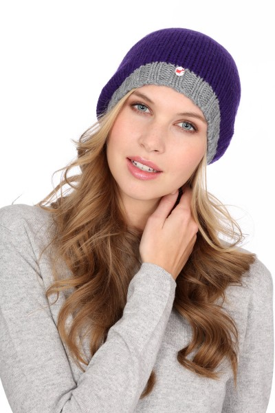 Coarse Knit Cashmere Cap lila/uniform